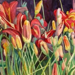 """Buds and Blooms, 15""""w x 11""""h, original watercolor SOLD in Silent Auction"""