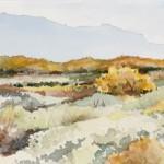 "The Mountain Beyond, 22""w x 7.5""h, original watercolor, NMWS Award Winner, SOLD"