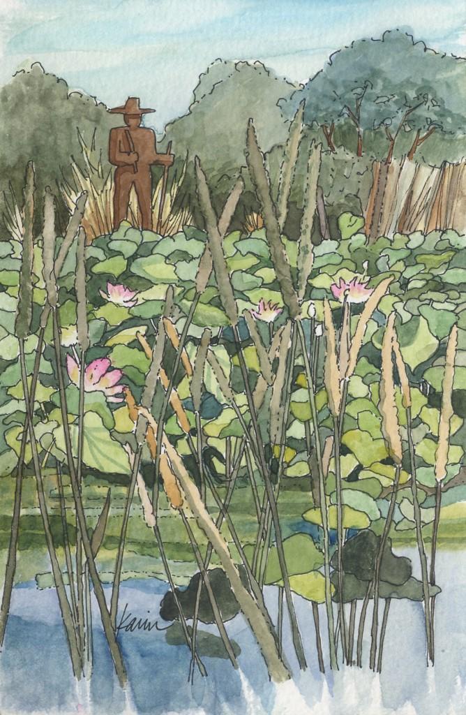 Los Poblanos - pond (original available, $200 framed)